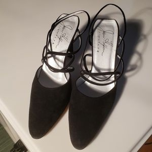 Joan Helpern Black Suede Strap Heel - Near Mint